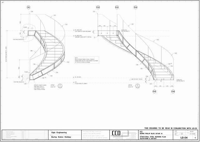 Australian steel detailing services ccd drafting for Spiral staircase design plans